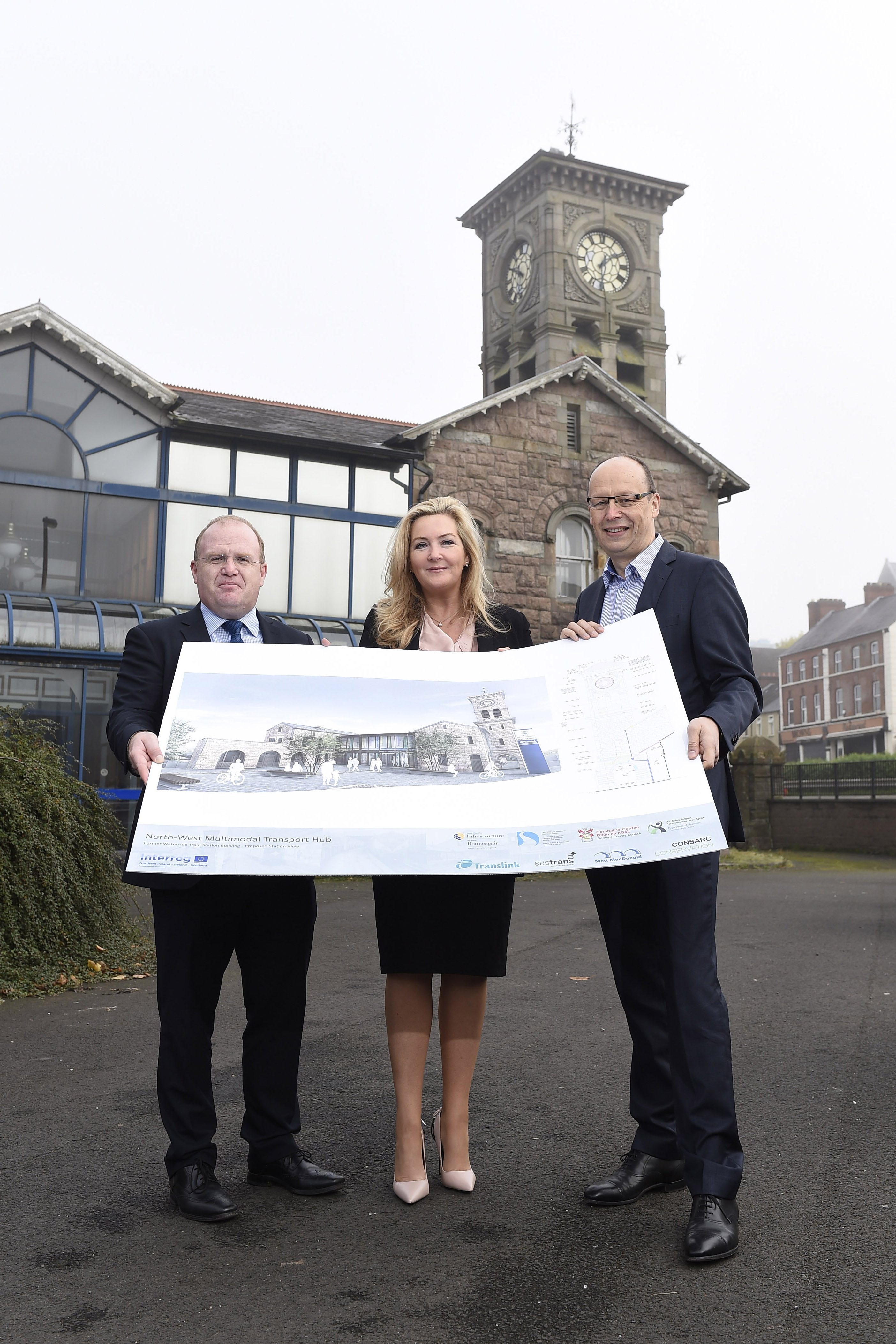 Pictured announcing €23.5 million worth of funding from the European Union's INTERREG VA Programme for an iconic new cross-border multi-modal transport hub for the North West are John Glass, Head of Projects with Translink, Gina McIntyre Chief Executive Officer with the Special EU Programmes Body (SEUPB) and Peter May, Permanent Secretary with the Department for Infrastructure.
