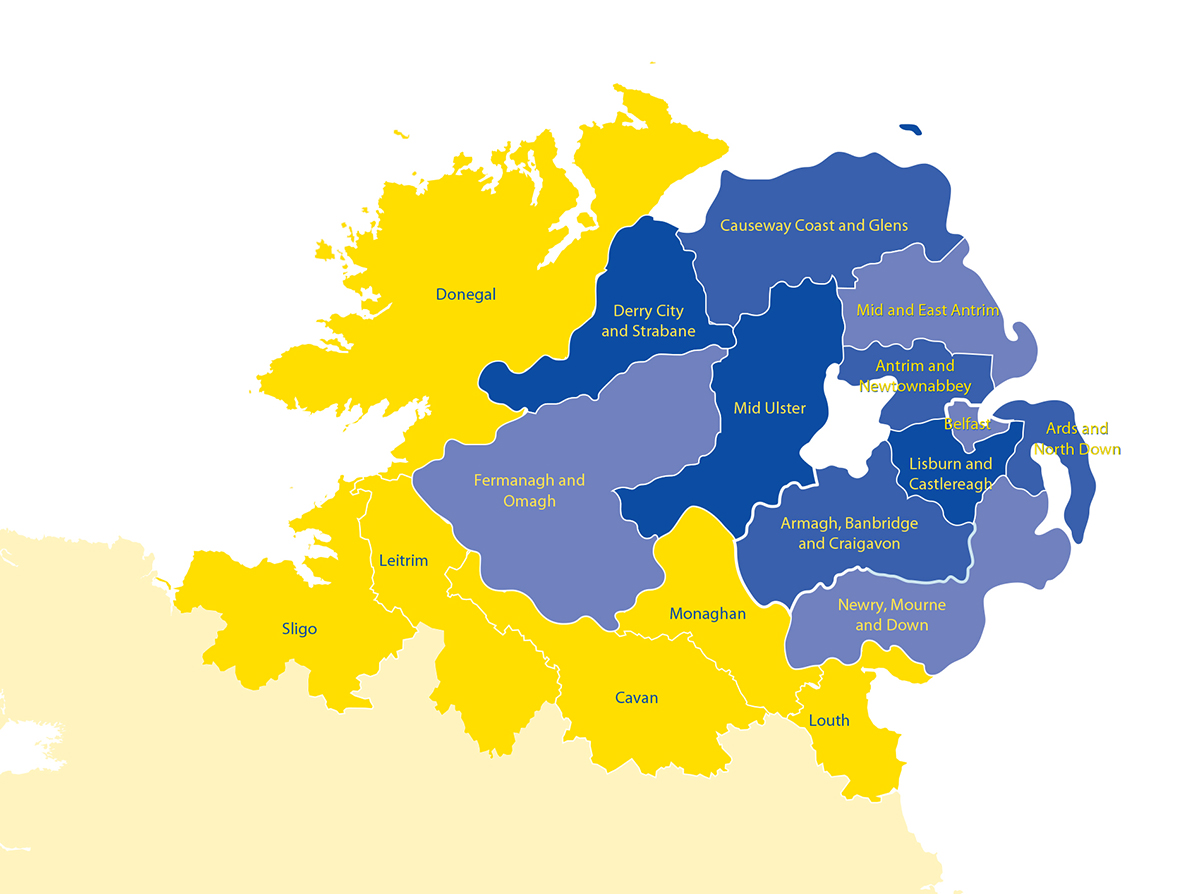 Map of eligible Programme area to include Northern Ireland and the Border Region of Ireland